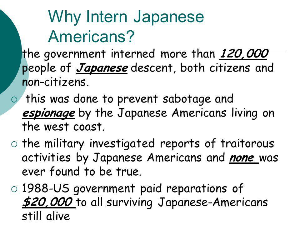 Why Intern Japanese Americans