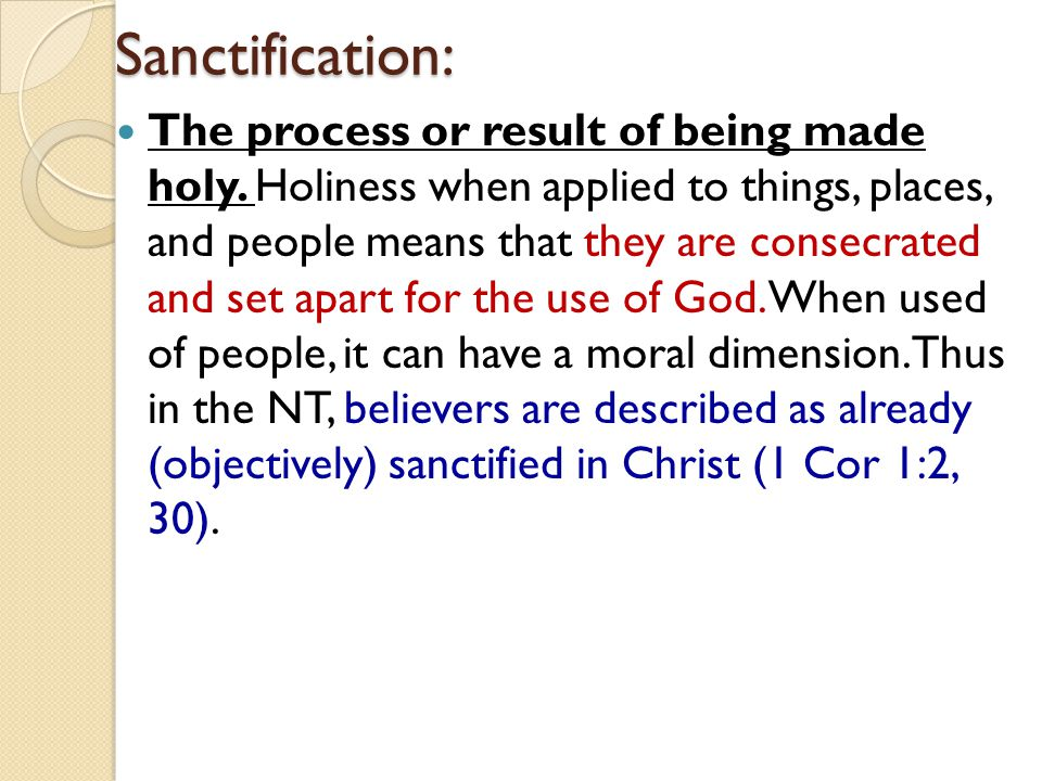 Sanctification: