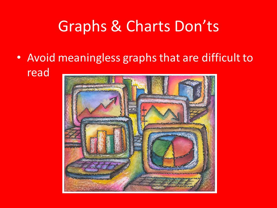 Graphs & Charts Don'ts Avoid meaningless graphs that are difficult to read