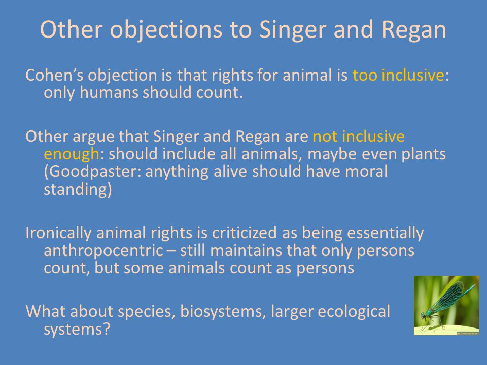 Other objections to Singer and Regan