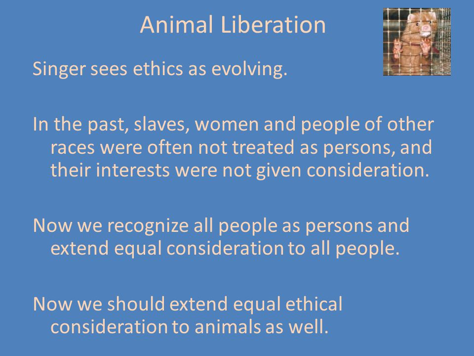 The arguments of peter singer on our moral consideration of animal rights