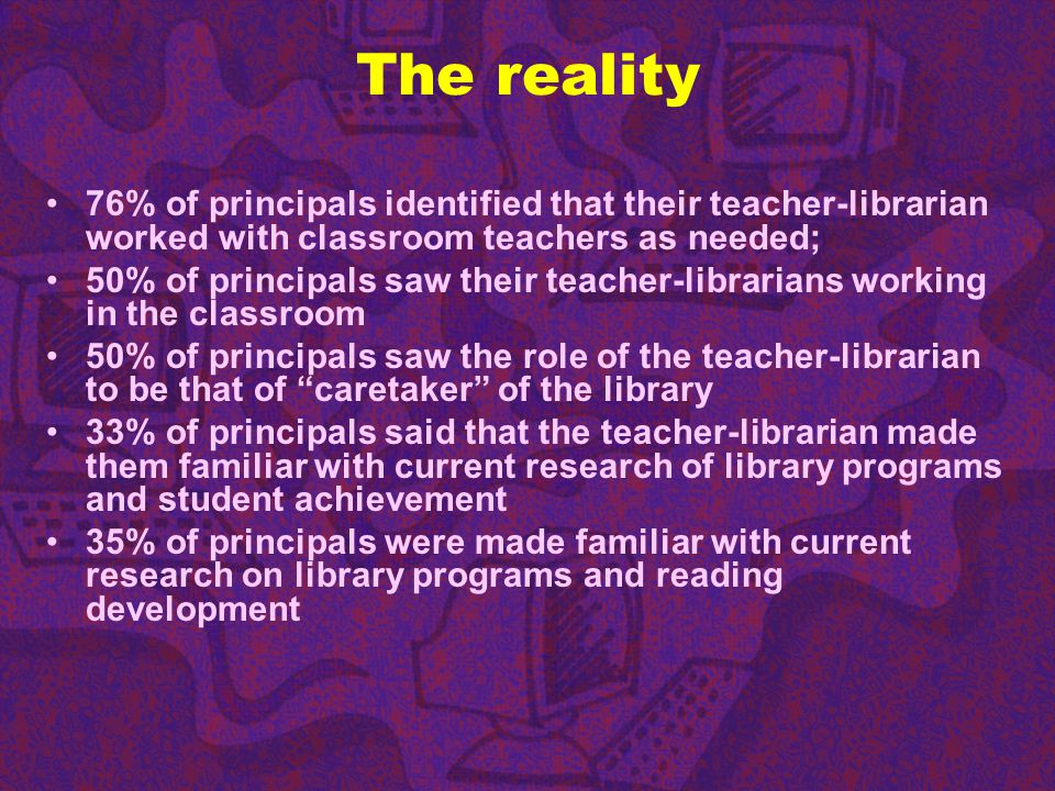 The reality 76% of principals identified that their teacher-librarian worked with classroom teachers as needed;