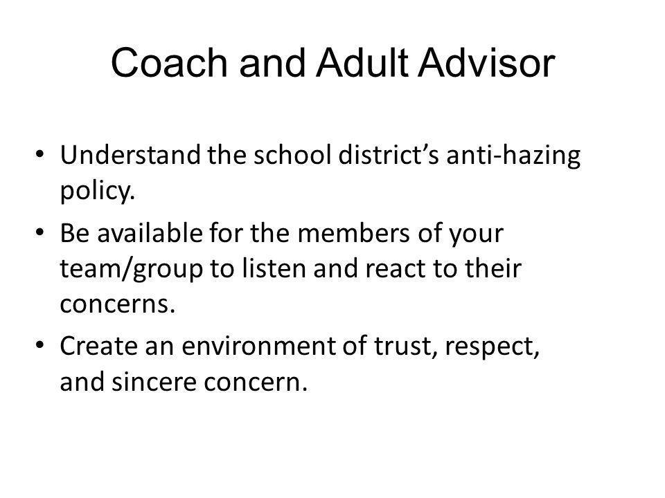 Coach and Adult Advisor