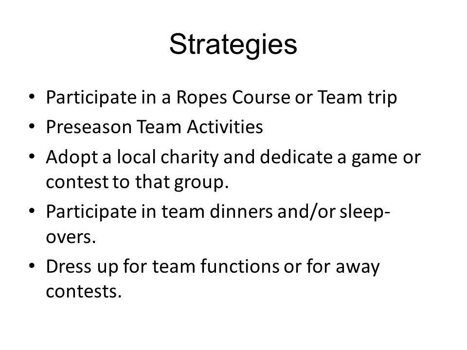 Strategies Participate in a Ropes Course or Team trip