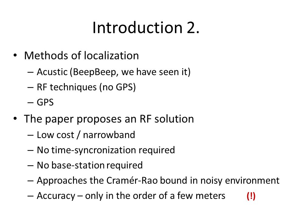 Introduction 2. Methods of localization