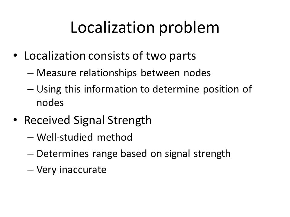 Localization problem Localization consists of two parts