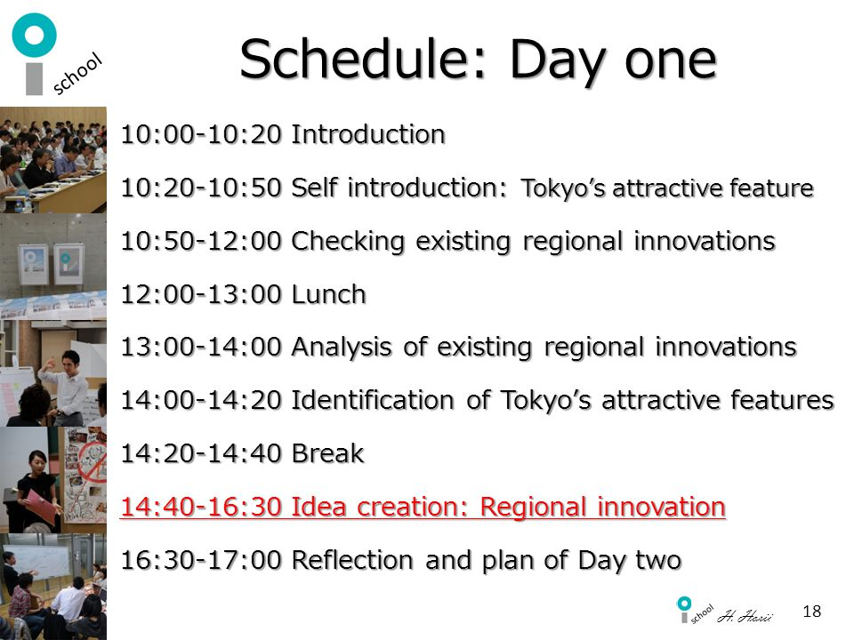Schedule: Day one