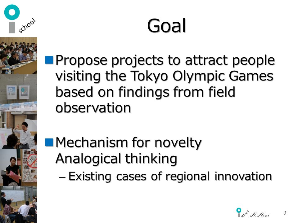 Goal Propose projects to attract people visiting the Tokyo Olympic Games based on findings from field observation.
