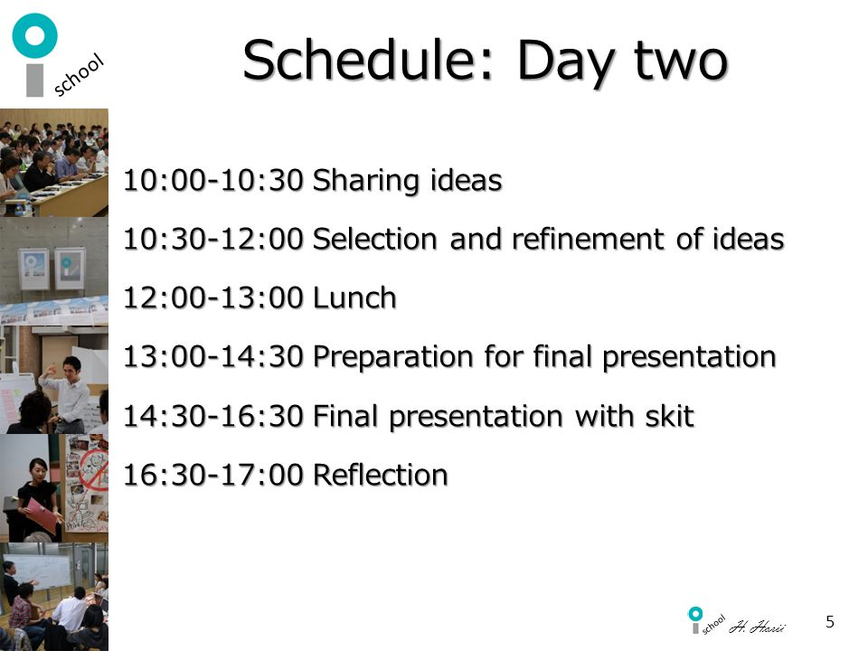 Schedule: Day two