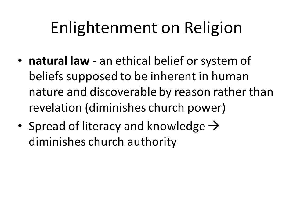 Enlightenment on Religion