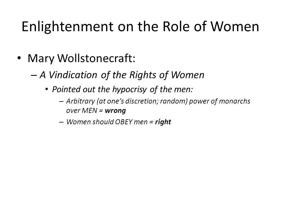 Enlightenment on the Role of Women