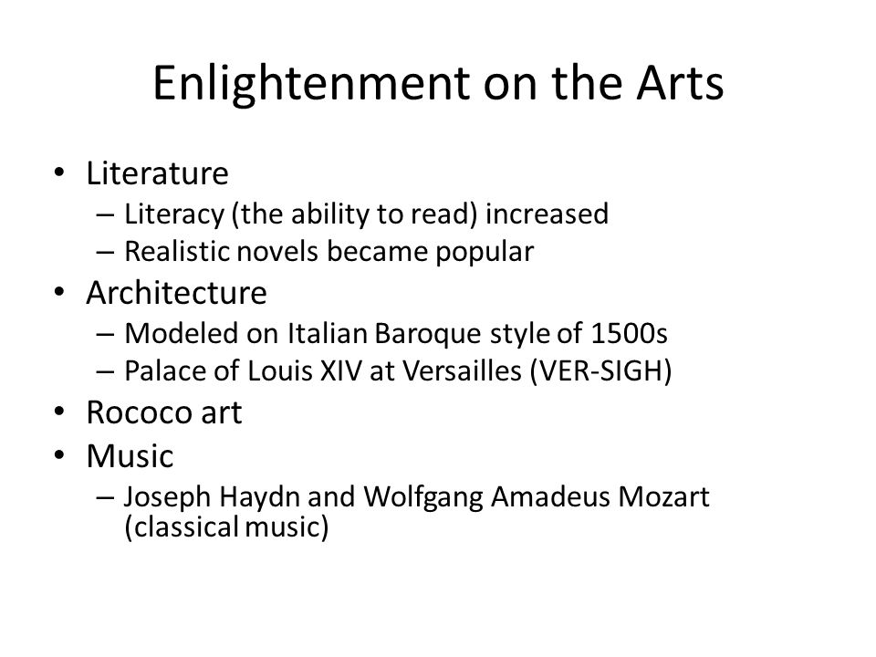 Enlightenment on the Arts