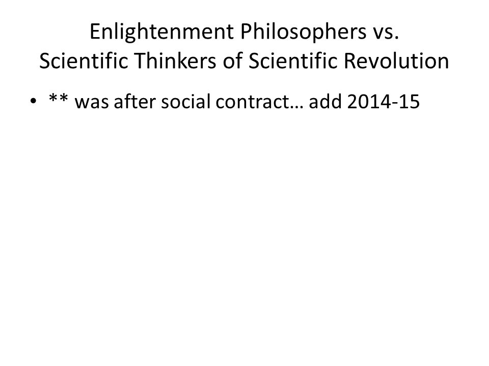 Enlightenment Philosophers vs