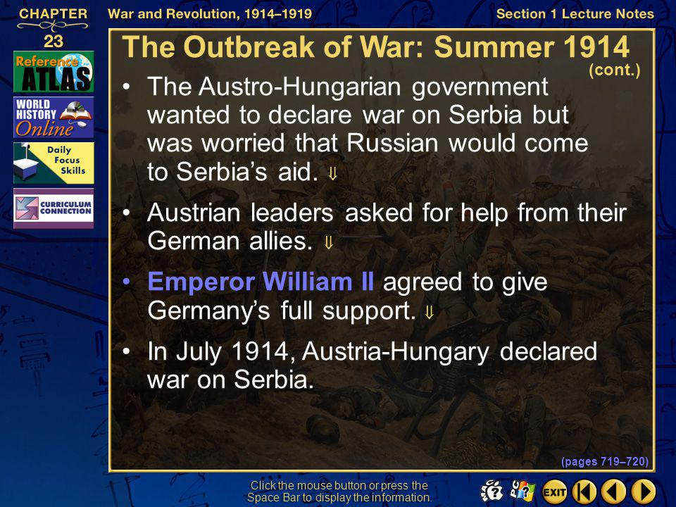 The Outbreak of War: Summer 1914
