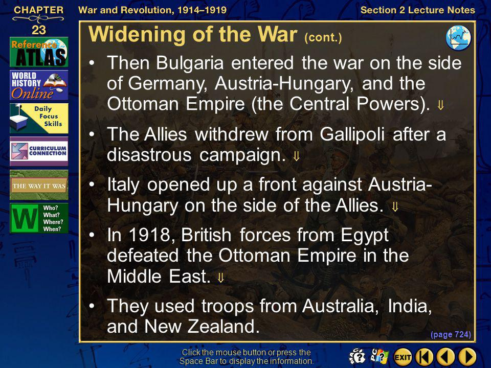 Widening of the War (cont.)