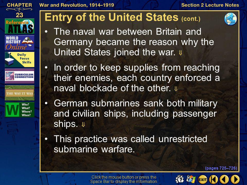 Entry of the United States (cont.)