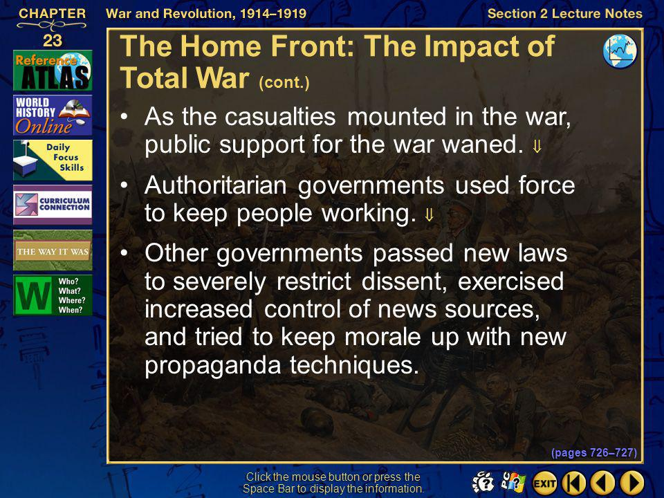 The Home Front: The Impact of Total War (cont.)