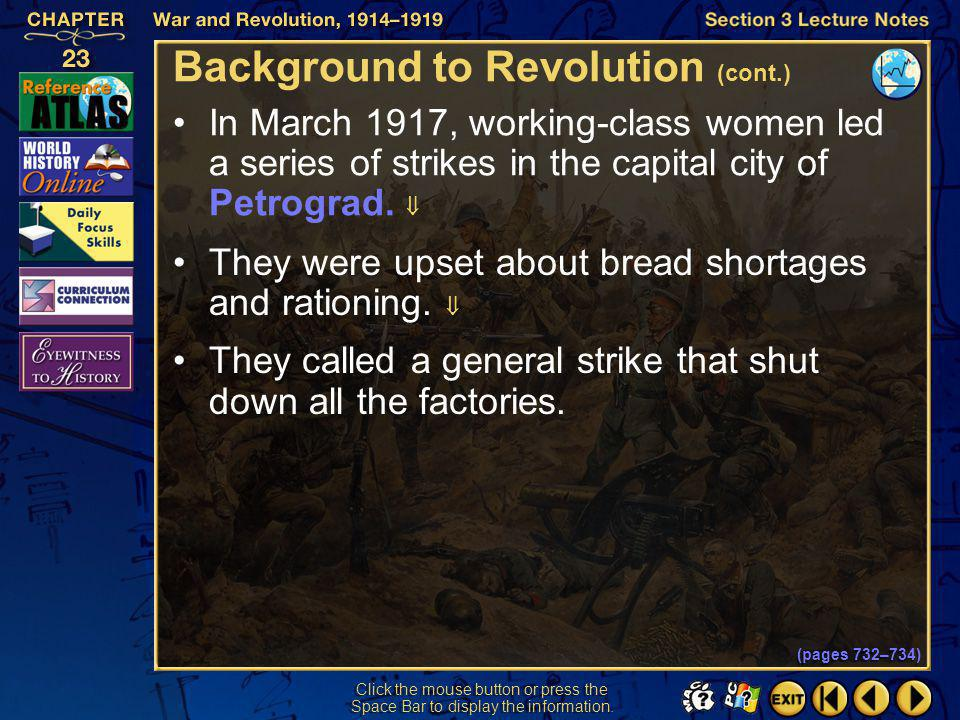 Background to Revolution (cont.)