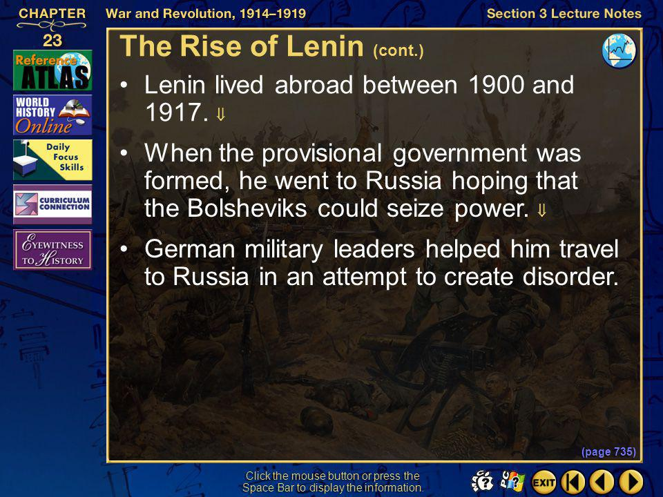 The Rise of Lenin (cont.)