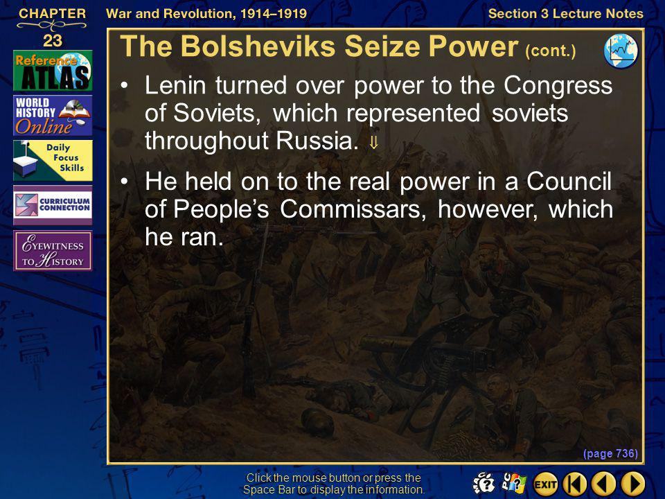 The Bolsheviks Seize Power (cont.)