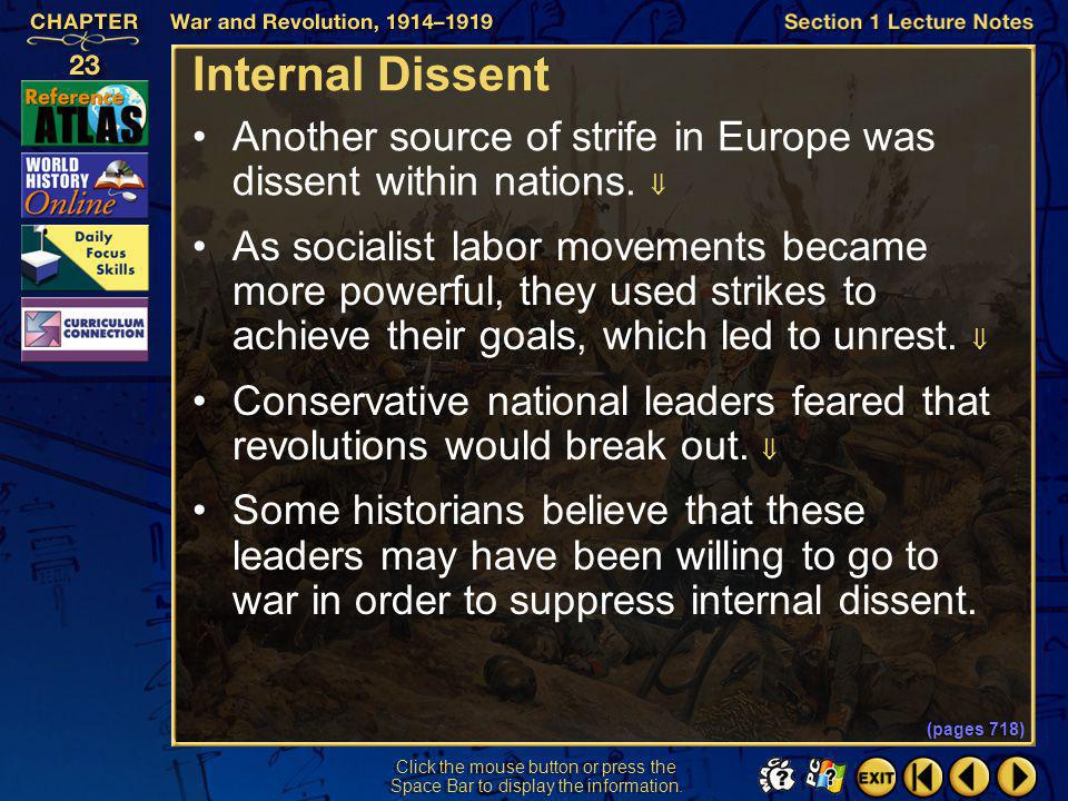 Internal Dissent Another source of strife in Europe was dissent within nations. 