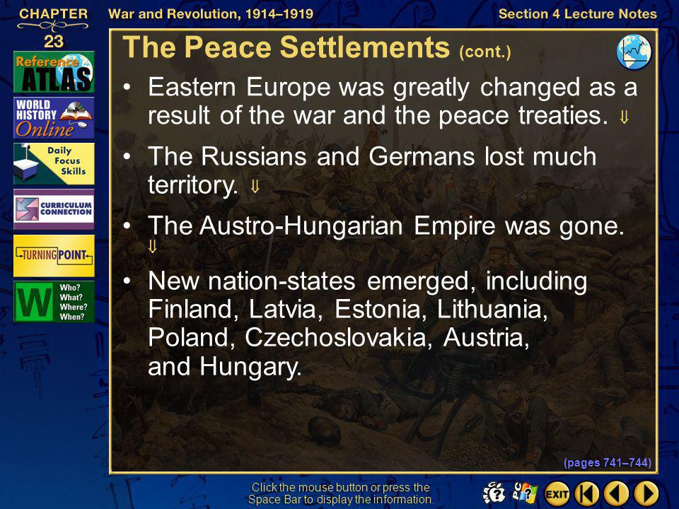 The Peace Settlements (cont.)