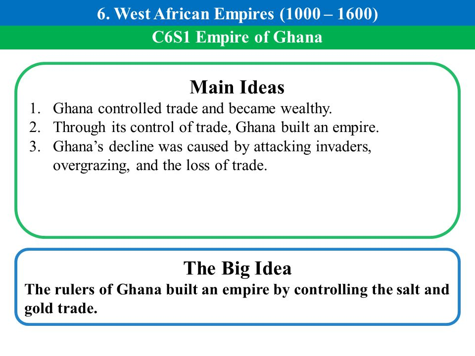 6. West African Empires (1000 – 1600)