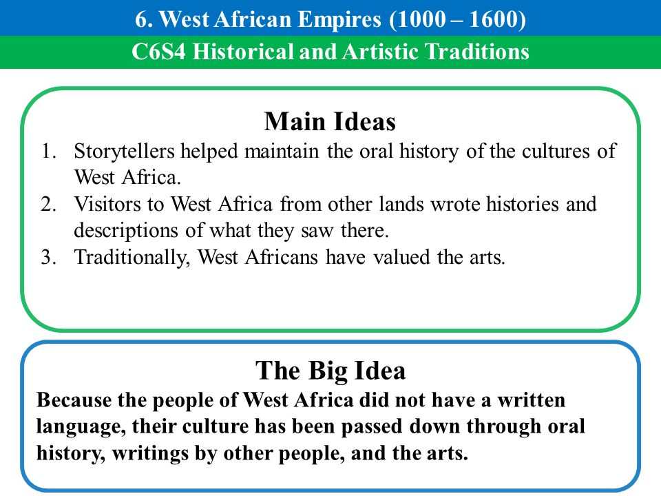 Main Ideas The Big Idea 6. West African Empires (1000 – 1600)