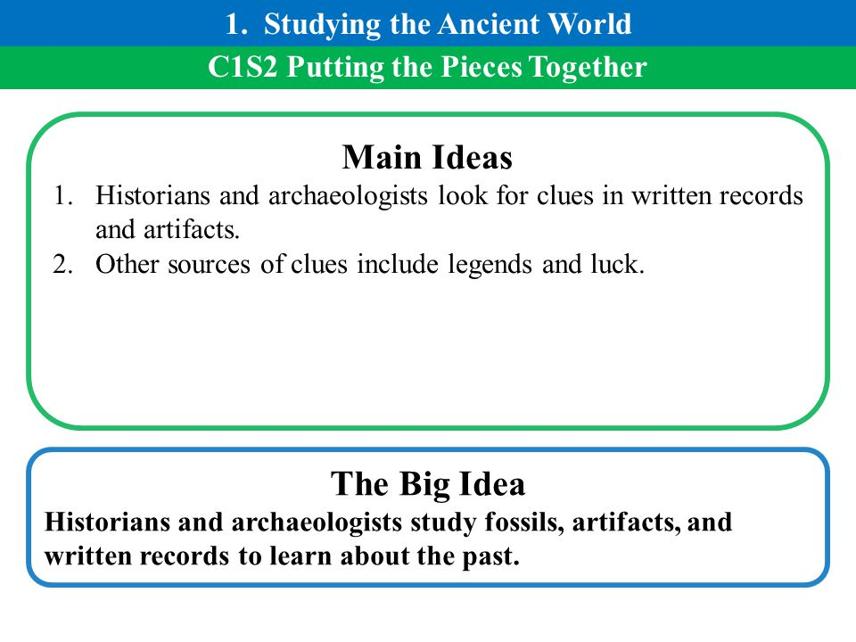 1. Studying the Ancient World C1S2 Putting the Pieces Together