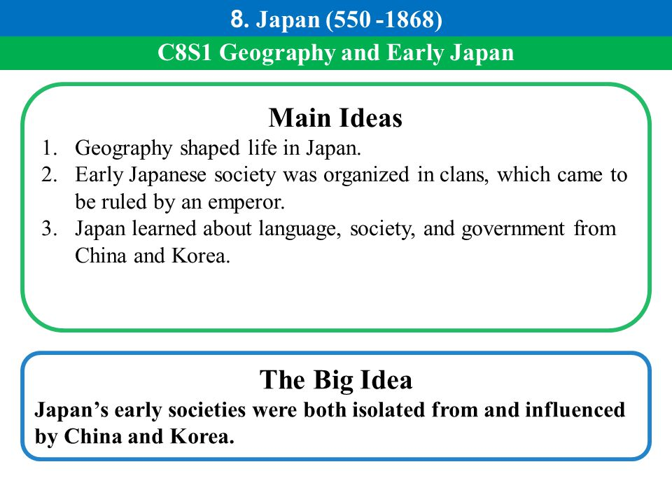 C8S1 Geography and Early Japan