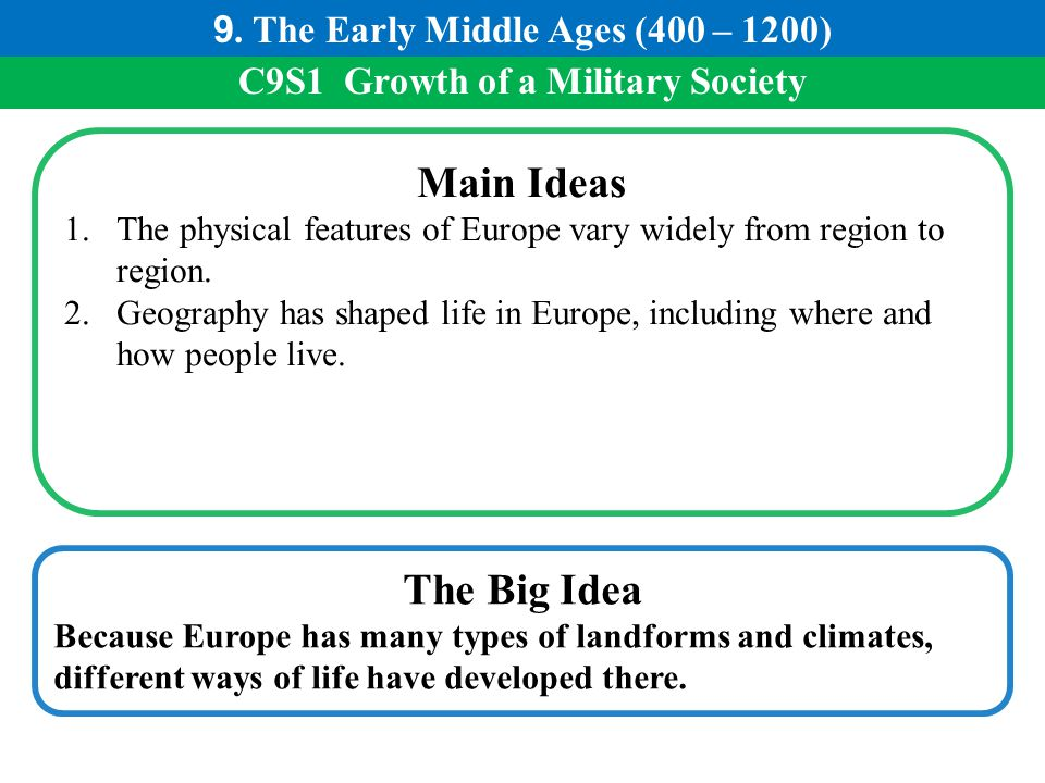Main Ideas The Big Idea 9. The Early Middle Ages (400 – 1200)