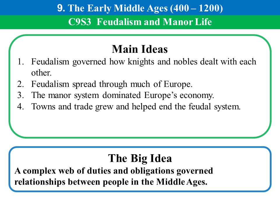 9. The Early Middle Ages (400 – 1200) C9S3 Feudalism and Manor Life
