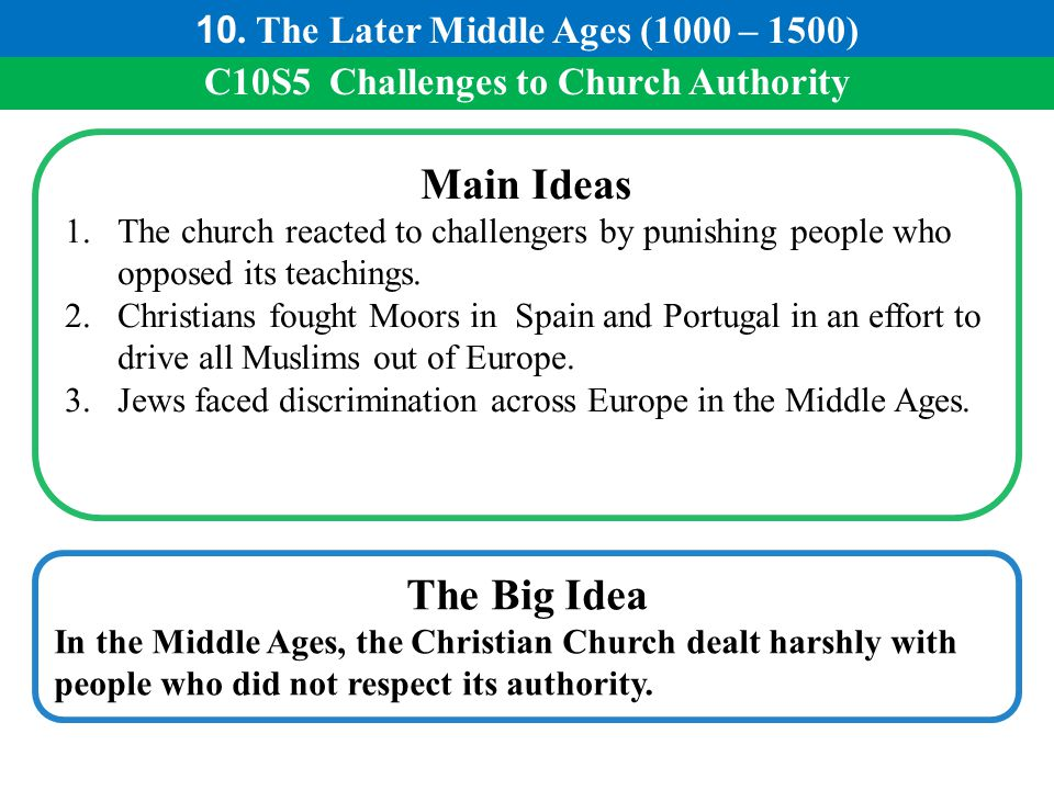 Main Ideas The Big Idea 10. The Later Middle Ages (1000 – 1500)