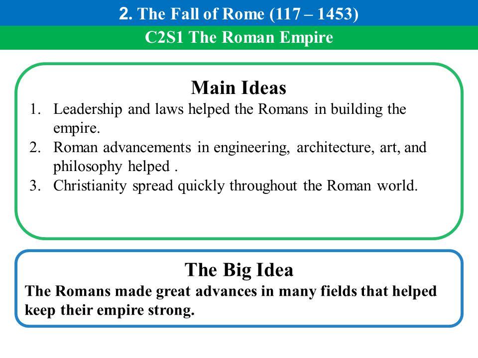 Main Ideas The Big Idea 2. The Fall of Rome (117 – 1453)