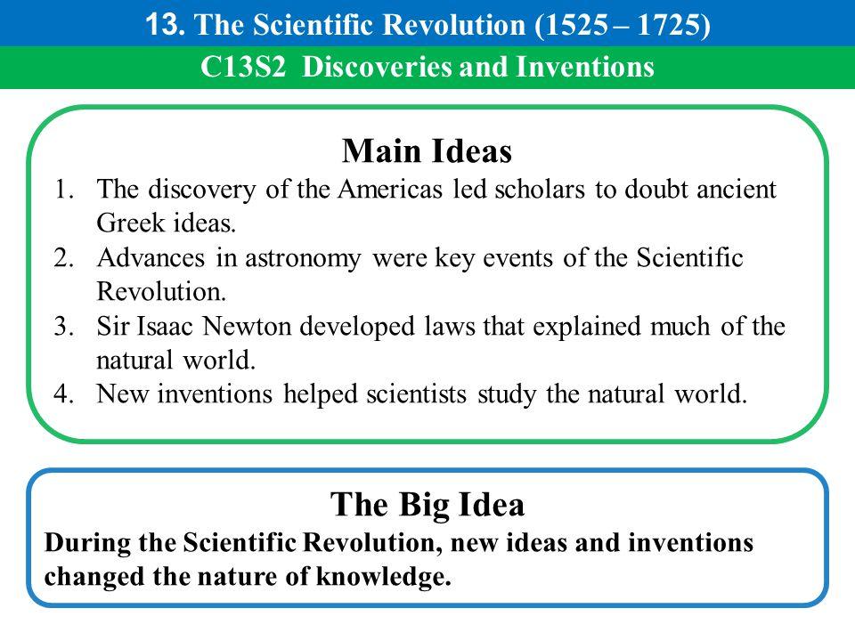 Main Ideas The Big Idea 13. The Scientific Revolution (1525 – 1725)