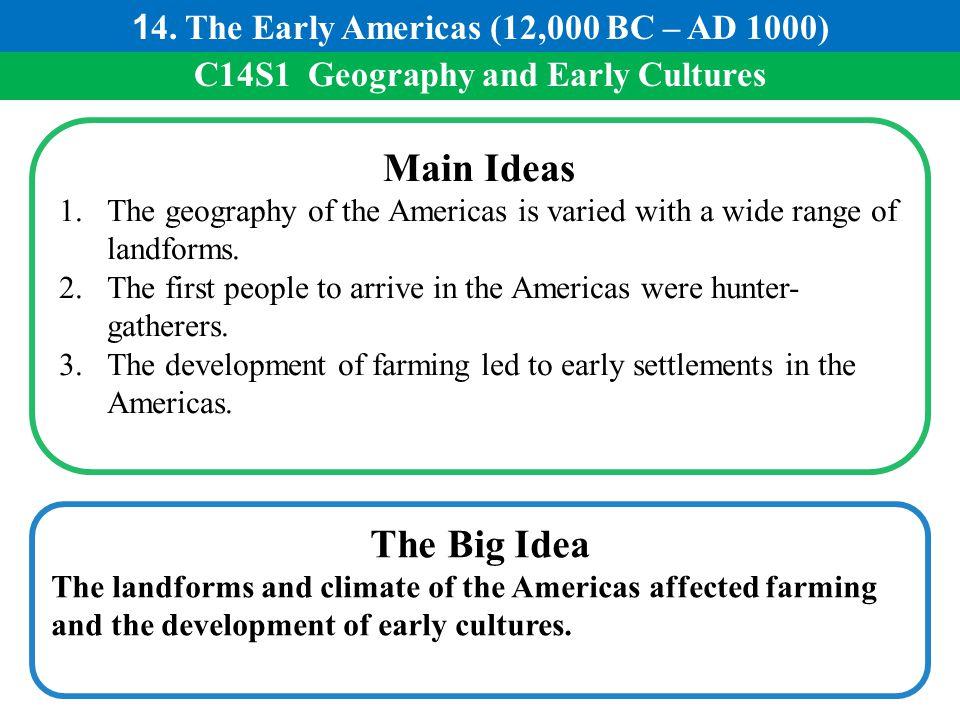 Main Ideas The Big Idea 14. The Early Americas (12,000 BC – AD 1000)