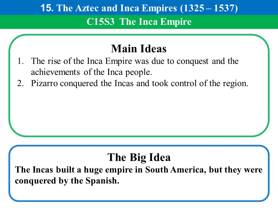 15. The Aztec and Inca Empires (1325 – 1537)