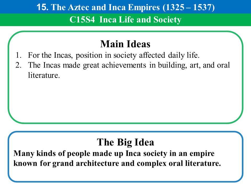 Main Ideas The Big Idea 15. The Aztec and Inca Empires (1325 – 1537)