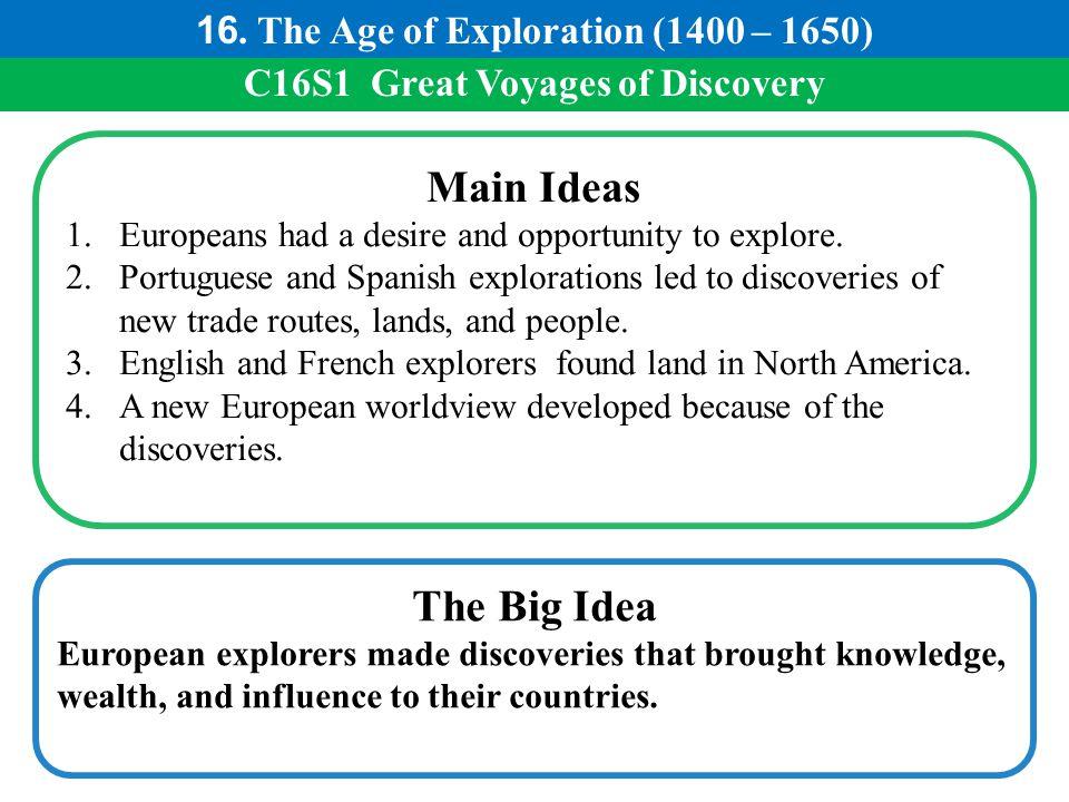 Main Ideas The Big Idea 16. The Age of Exploration (1400 – 1650)