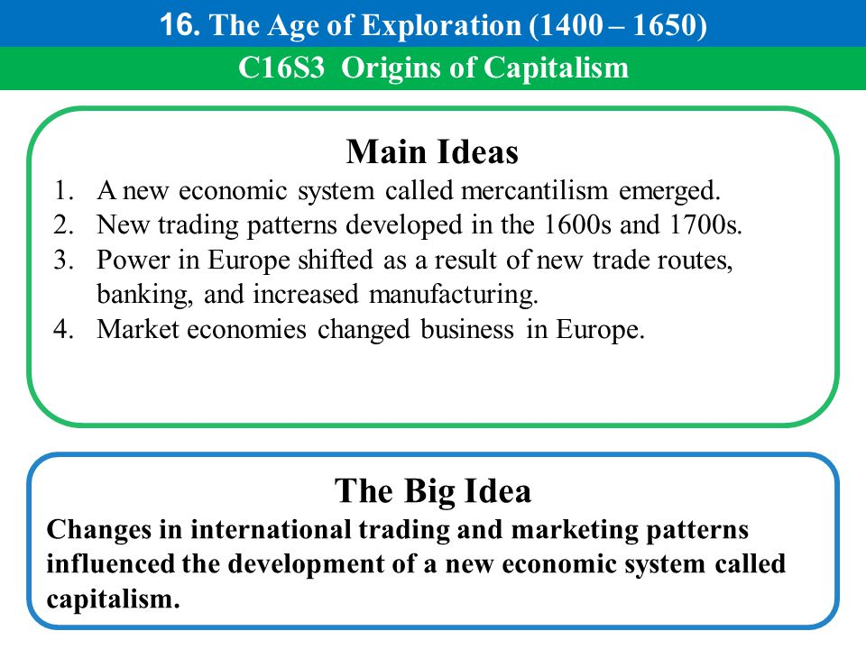 16. The Age of Exploration (1400 – 1650) C16S3 Origins of Capitalism
