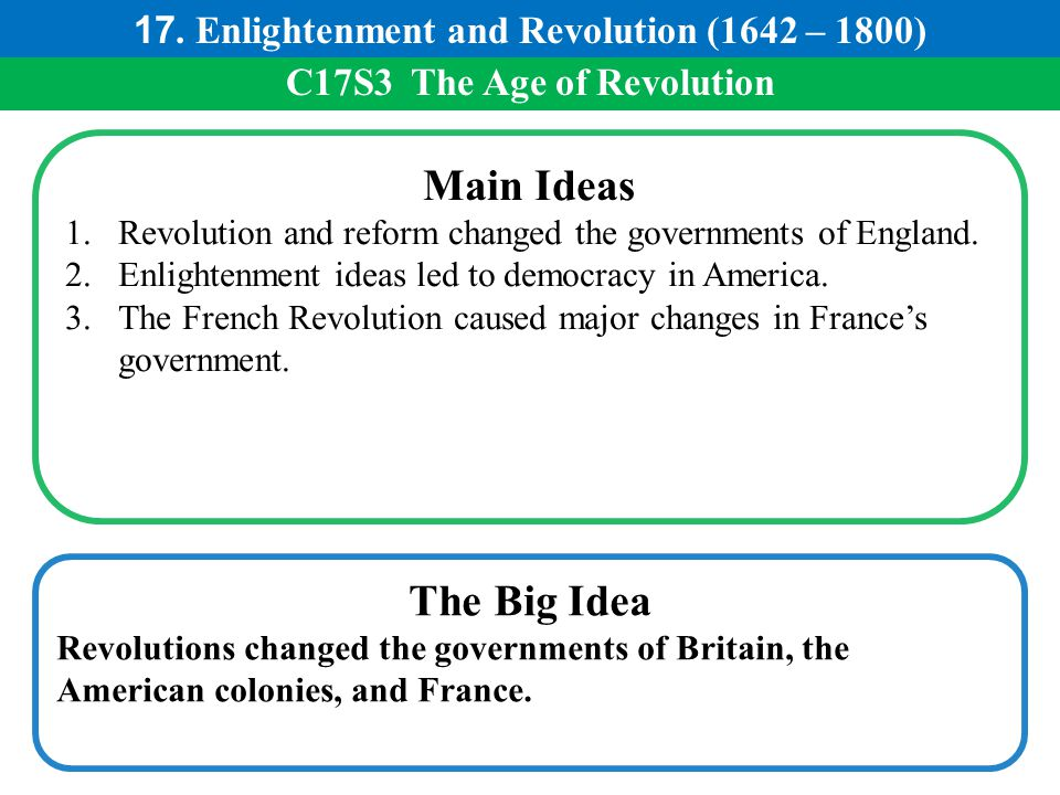 Main Ideas The Big Idea 17. Enlightenment and Revolution (1642 – 1800)