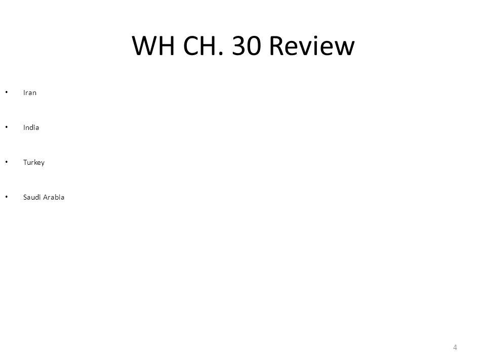 WH CH. 30 Review Iran India Turkey Saudi Arabia