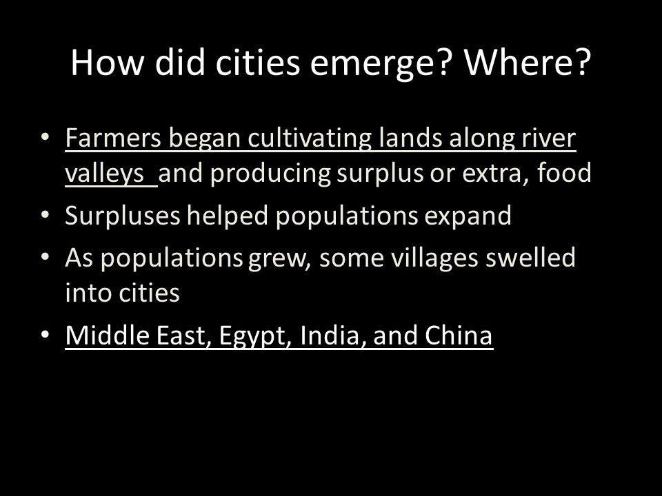 How did cities emerge Where