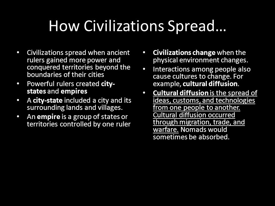 How Civilizations Spread…