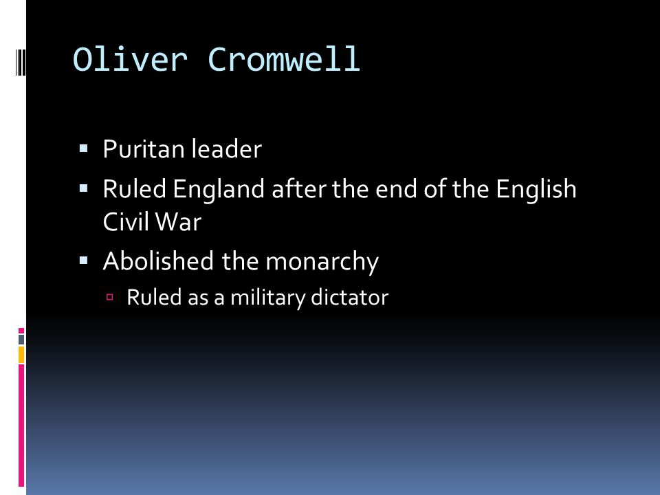 Oliver Cromwell Puritan leader