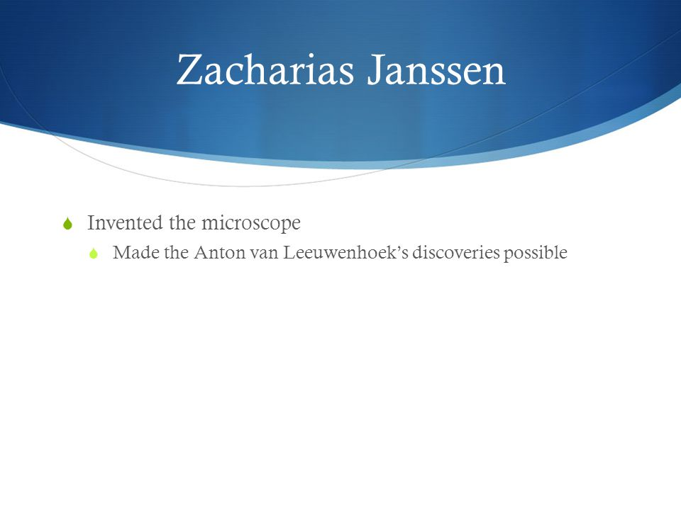 Zacharias Janssen Invented the microscope