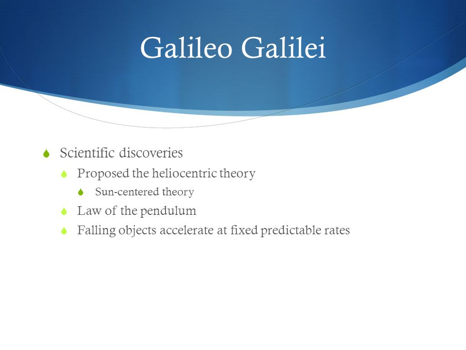 Galileo Galilei Scientific discoveries