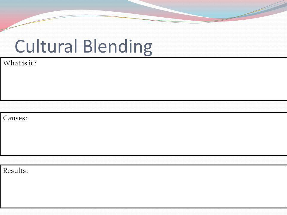 Cultural Blending What is it Causes: Results: