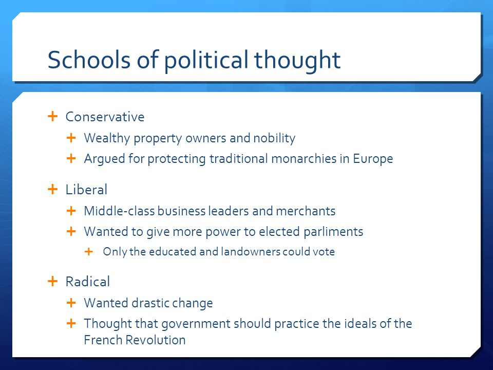 Schools of political thought