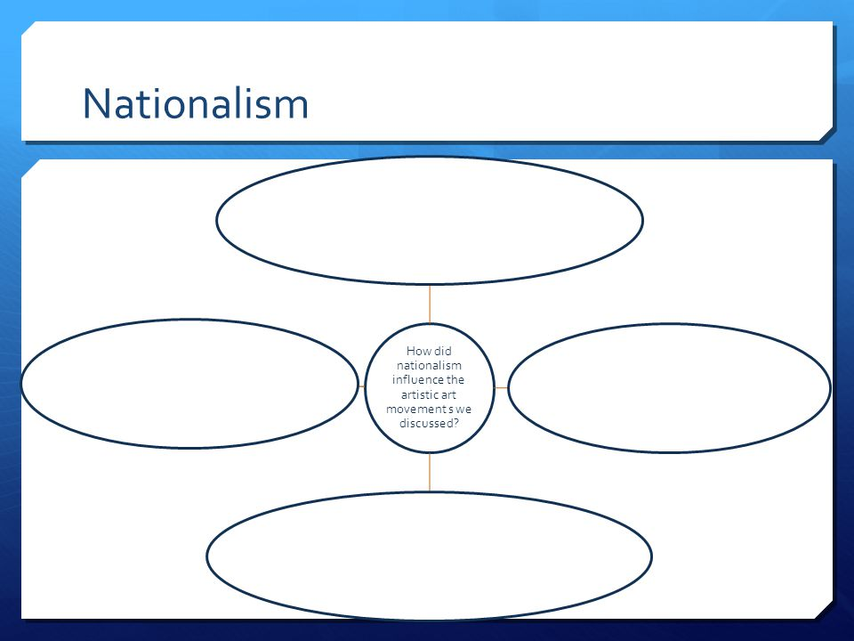 Nationalism How did nationalism influence the artistic art movement s we discussed Pg 701